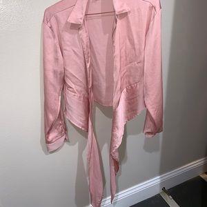 Silk pink wrap long sleeve shirt